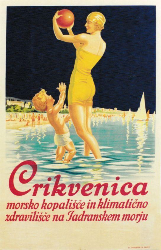 Cirquenizza , Crikvenica (Croazia) Vintage travel beach poster #essenzadiriviera www.varaldocosmetica.it/en