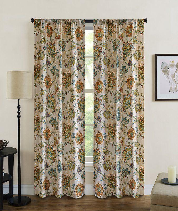 Baumgarten Nature Floral Semi Sheer Rod Pocket Curtain Panels
