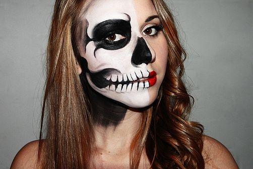 17 best images about half skull on pinterest half skeleton face halloween couples and make up. Black Bedroom Furniture Sets. Home Design Ideas