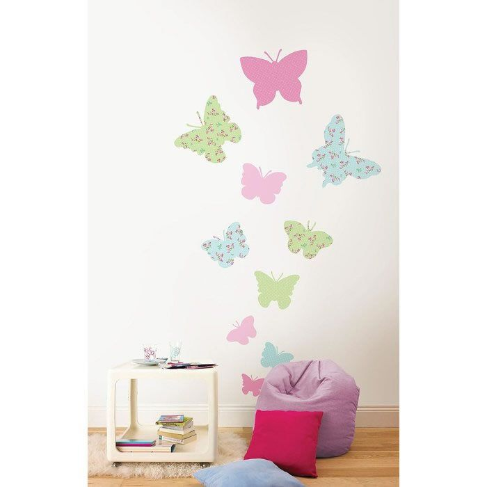 Take a look at this pastel butterflies wall decal set by wallpops