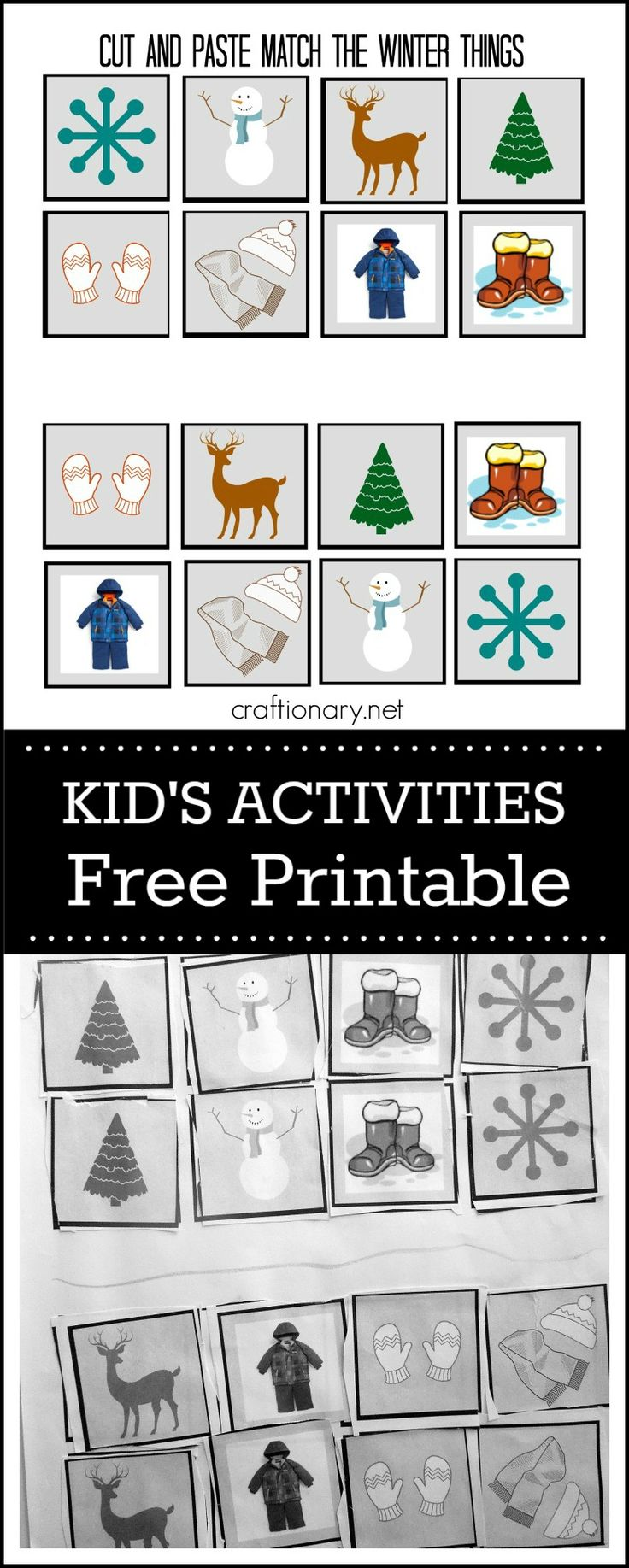 Common Winter elements FREE printable for kids ~ cut and paste activity at craftionary.net
