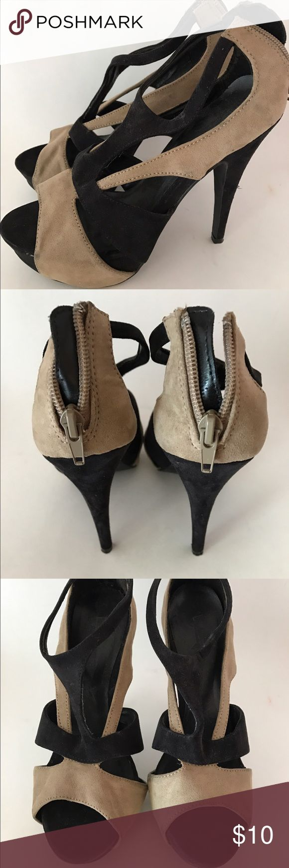 Strappy Black and Tan High Heel - size 7 These are fun! Strappy black and tan high heels from Forever 21 - size 7 - used, but in great condition- rear ankle zipper Forever 21 Shoes Heels