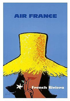 French Riviera - Air France - Cote d'Azur South of France - Vintage Airline Travel Poster by Rene Gruau c.1963, vintage travel poster,retro,poster art,vintage advertising,vintage travel,st. tropez,niece,cannes