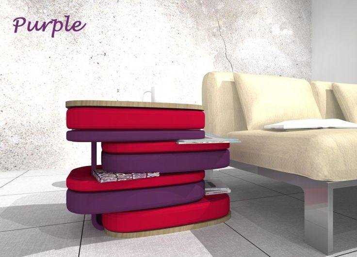 """Formabilio - Ripropongo Purple, complemento multifunzione. E' composto da diversi elementi: un ripiano ed una base in multistrato impiallacciato frassino, collegati da un elemento a C con struttura in multistrato curvato imbottito e rivestito in tessuto DINUOVO, e da una """"pila"""" asimmetrica di cuscini in poliuretano espanso rivestiti in tessuto DINUOVO, alcuni dei quali infilati nell'elemento verticale. Assemblato è un tavolino per il living...lo spazio tra i cuscini puo essere usato per ..."""