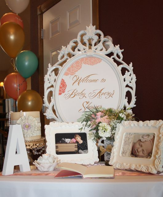 glam baby shower party ideas shabby chic entry tables and showers