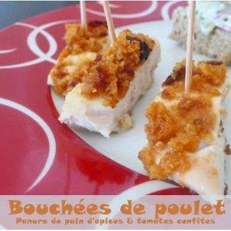 Bouchées de poulet pané au pain d'épice et tomates séchées
