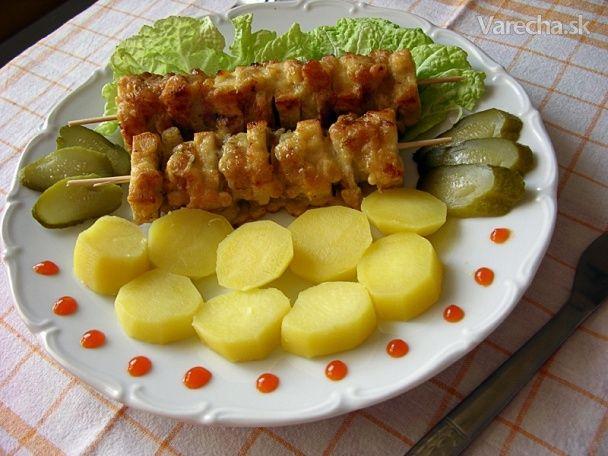 Tofu ražniči s banánom a šampiňónmi (fotorecept)