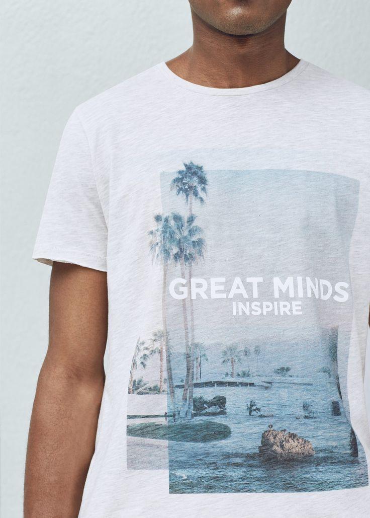T-shirt algodão estampada | MANGO MAN