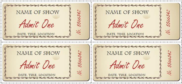 Free Printable Ticket Template