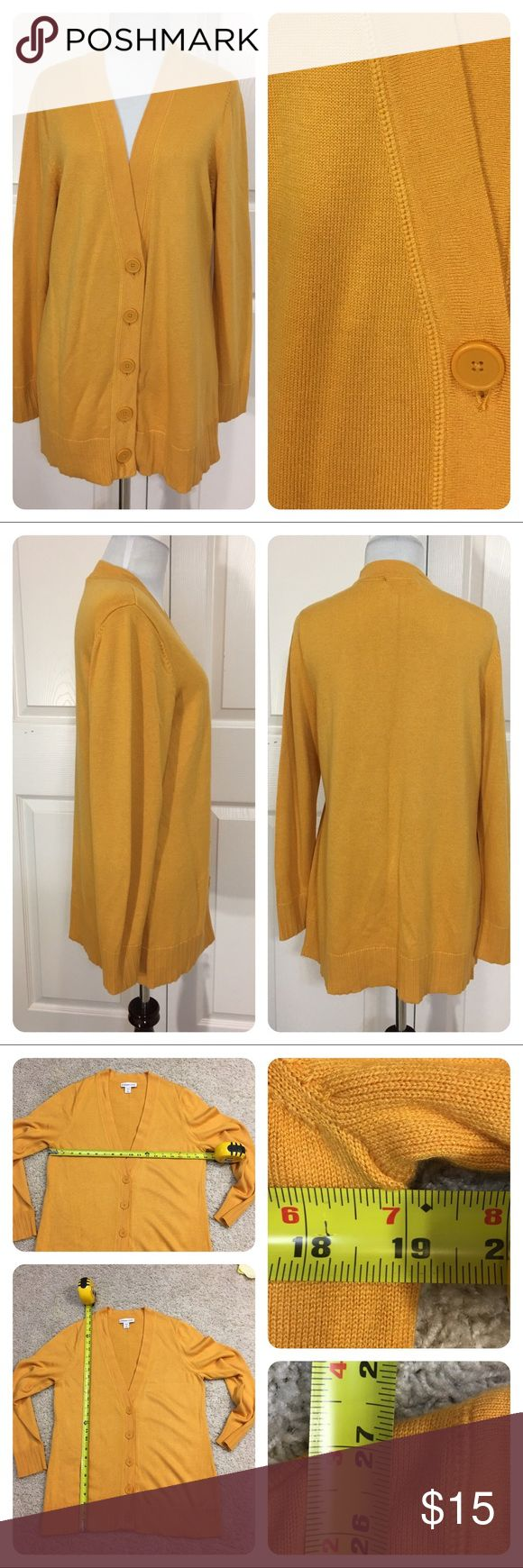 Coldwater Creek yellow gold cardigan. Perfect layering piece!  Great Coldwater Creek yellow gold button front cardigan. So comfortable. No flaws noted. Coldwater Creek Sweaters Cardigans