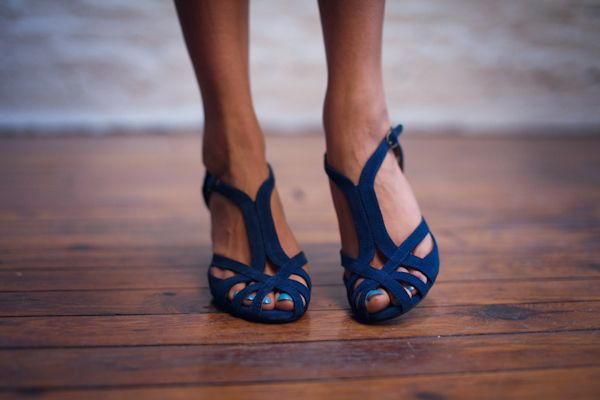 Saturated blue shoes with graphic crossing straps.