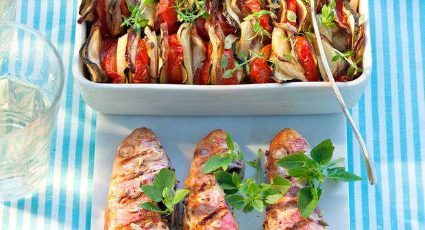 Rougets grillés et tian de légumesVoir la recette des Rougets grillés et tian de…