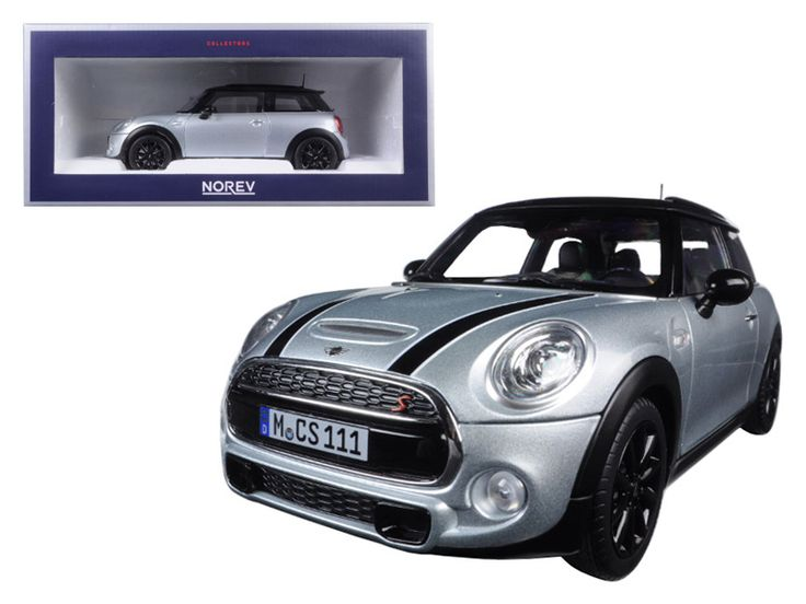 2015 Mini Cooper S Silver Metallic and Black 1/18 Diecast Model Car by Norev - Brand new 1:18 scale diecast model of 2015 Mini Cooper S Silver Metallic and Black die cast car model by Norev. Has steerable wheels. Brand new box. Rubber tires. Has opening doors and trunk. Made of diecast with some plastic parts. Detailed interior, exterior, engine compartment. Dimensions approximately L-7.5, W-3.75, H-3.25 inches.-Weight: 4. Height: 8. Width: 15. Box Weight: 4. Box Width: 15. Box Height: 8…