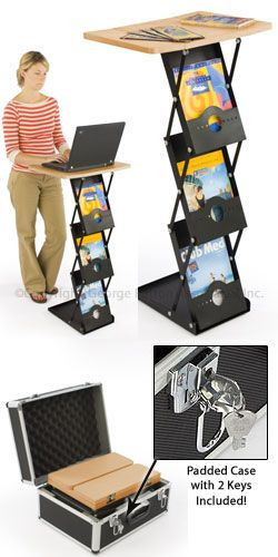 Portable Table: Folding Design with 3 Literature Pockets  $135.40  26 pounds w/locking case.