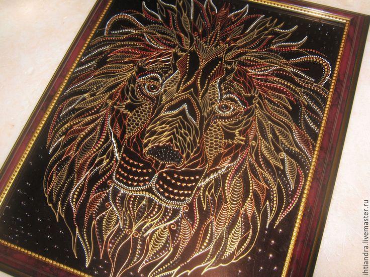 Купить Лев Роспись по стеклу - украшение интерьера, эксклюзивный подарок, подарок на любой случай