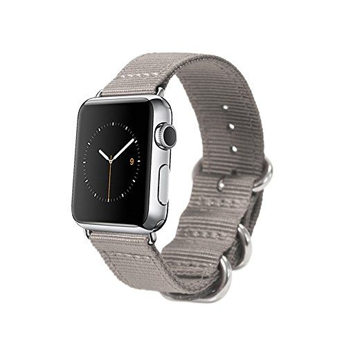 Monowear Gray Nylon Apple Watch Band with Easy Slide in Silver Polished Elegant Adaptor for 42mm Screen Apple Watch Monowear http://www.amazon.com/dp/B00WKN6WRK/ref=cm_sw_r_pi_dp_6hisvb1JWEA81