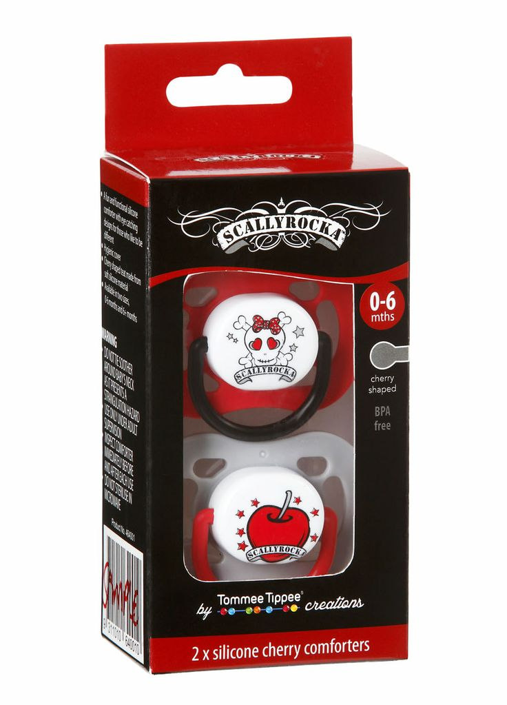 Scallyrocka red skull & cherry dummy set.