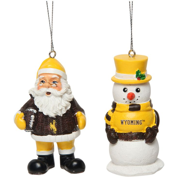 Wyoming Cowboys Saint Nick and Snowman 2-Pack Ornament Set