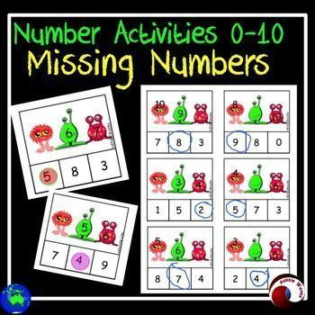 I use these as a Math Center Activity. These activity cards involve counting activities 0-10. Filling in missing numbers in given patterns, in both ascending and descending order. This set has 36 activity cards with an ALIEN theme.Print, laminate ready to