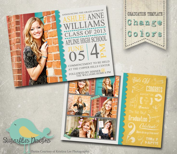 Graduation Custom Announcement DIY Printable Personalized High