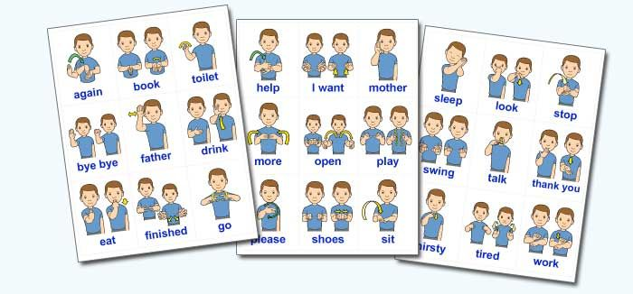 This is an image of Selective Printable Sign Language Flash Cards