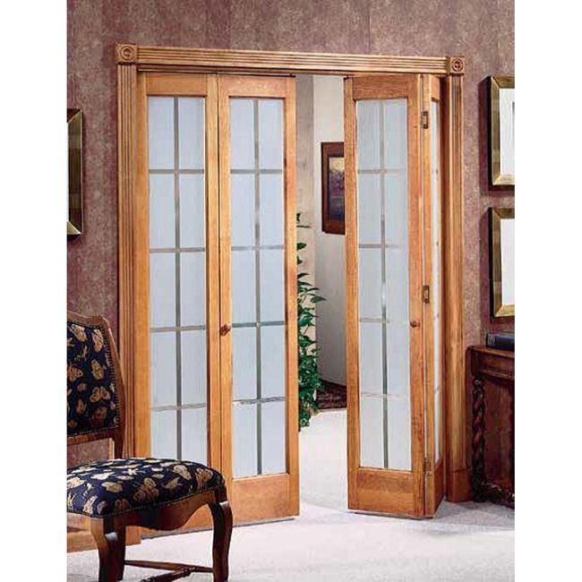 These heavy-duty bi-fold doors are perfect for rustic decors. They feature a frosted-glass design that enhance their beauty, and they are durable enough to last for many years. Keep the original wood finish, or paint the wood any color you choose. - playroom doorway?