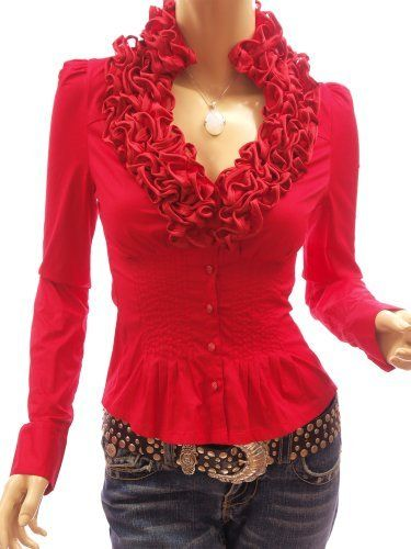 Patty Women Ruffle Flounce Stand Collar Pleated Waist Blouse Top