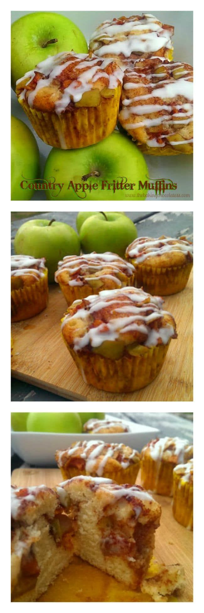 Country Apple Fritter Muffins via @https://www.pinterest.com/BaknChocolaTess/