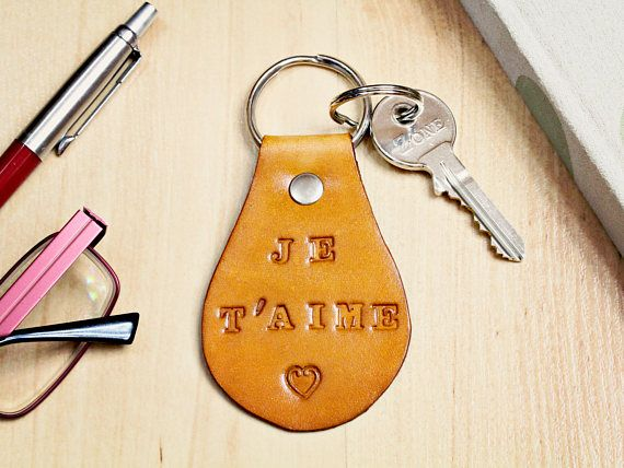 Je T'aime Keyring, Leather Keyring, I Love You Keyring. Repin To Remember.