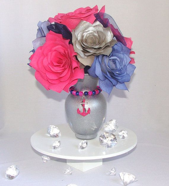 Navy blue and Hot Pink Anchor Centerpiece Hot Pink by CENTERTWINE, $32.00