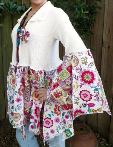 GYPSY BOHEMIAN HIPPIE SWEATER JACKET UPCYCLED RE-PURPOSED