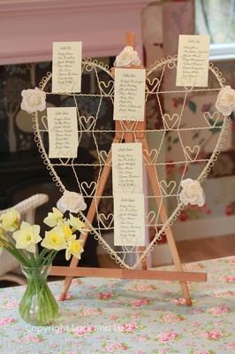 Wedding Table Plan Cream Metal Vintage Shabby Style Heart Card / Photo Holder L   eBay