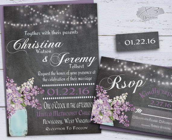 Country Mason Jar Wedding Invitation Set, DIY Rustic Wedding Invitations, String Lights & Purple Lilacs Printable Chalkboard Wedding Invite by X3designs