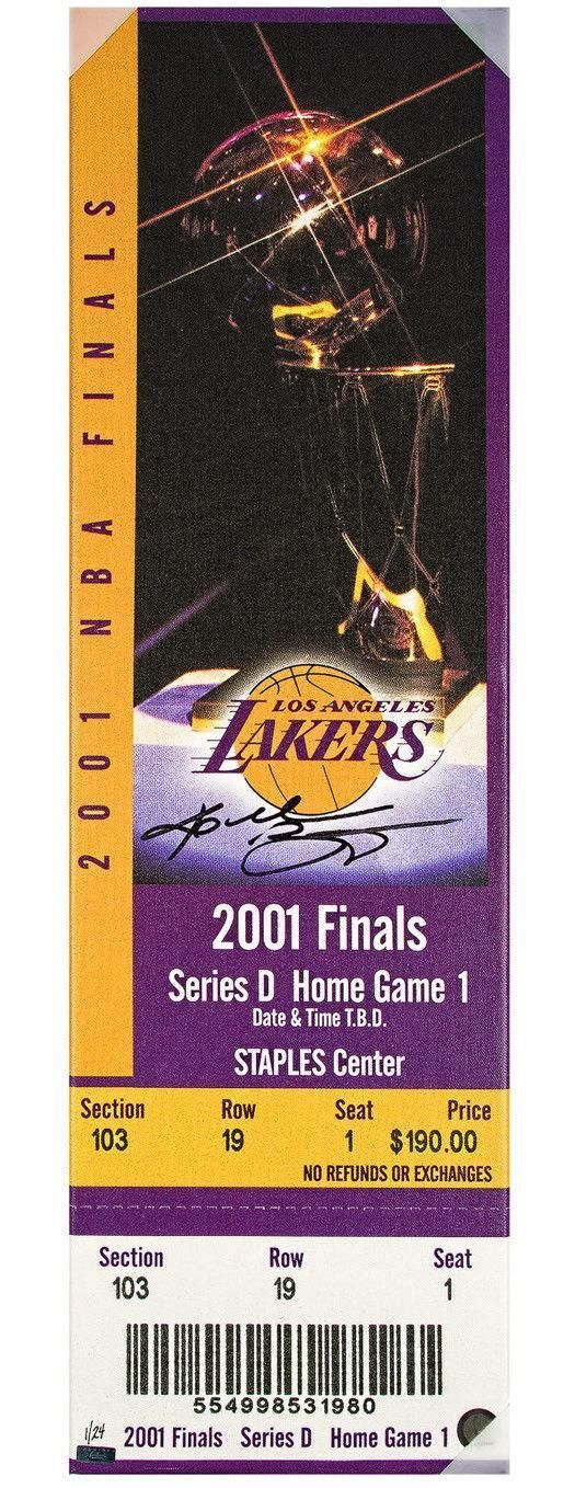 #SportsMemorabilia.com - #SportsMemorabilia.com KOBE BRYANT Signed 2001 NBA Finals Oversize Ticket Blow Up Canvas LE 4/24 PANINI - AdoreWe.com