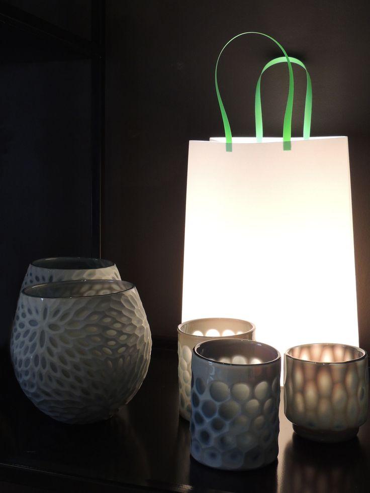 Lámpara bolsa y porta velas de vidrio. #solsken www.solsken.com.ar