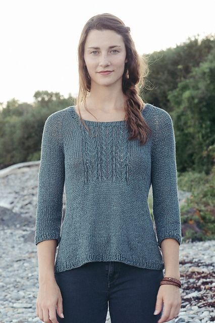 Clever use of slip stitches show off the unique features of a ribbon linen yarn like Kestrel to create a beautiful focal point for Pam Allen's Merrifield pullover. Worked in the round from the top down, with a square neckline, raglan shaping and an a-line silhouette, this simple beauty is both flattering and a delight to knit.