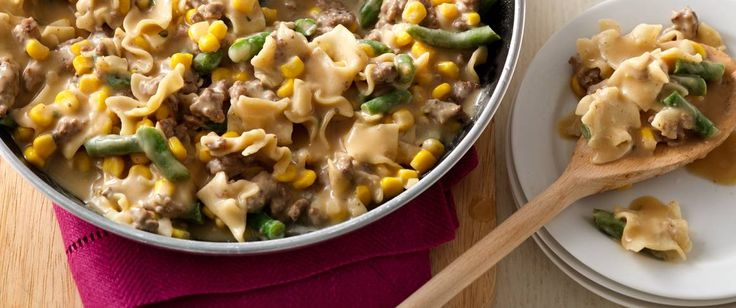 Canned corn and frozen green beans add color, flavor and veggie love to this one-pot meal.
