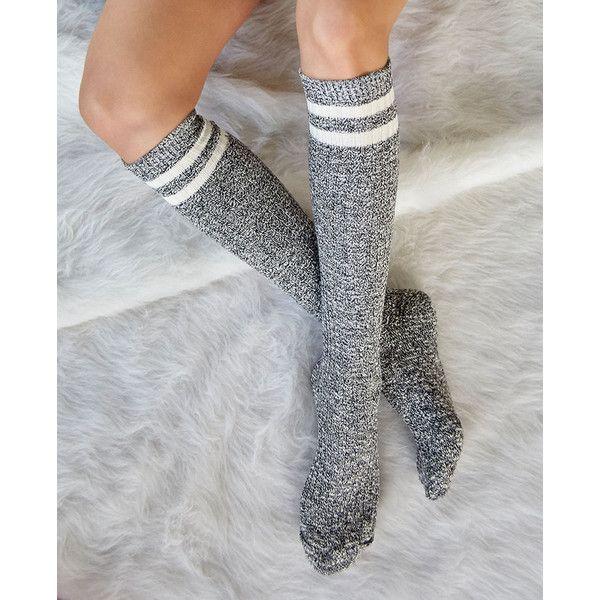 Marled Striped Knee-High Tube Socks ($8.90) ❤ liked on Polyvore featuring intimates, hosiery, socks, black, black socks, striped tube socks, black striped socks, knee high hosiery and wet seal