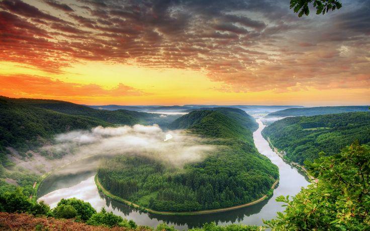 вечер, оранжевый, высота, панорама, вид, изгиб, облака, деревья, река, яркий…