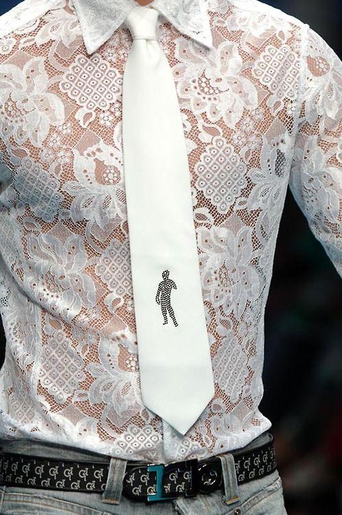 Rocco Barocco - hermosa camisa blanca semi transparente