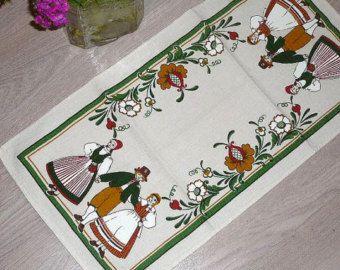 Vintage Swedish Table Cloth Folk Art Dancers Scandinavian Table Runner Bright Table Decor Green Brown Orange @68
