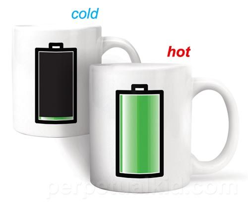 Heat Sensitive Battery Coffee Mug