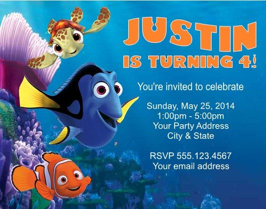 Finding Nemo Dory Squirt Birthday Party Invitations Finding Nemo