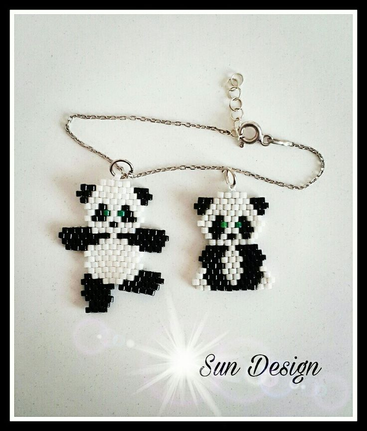 Panda #panda #beads #bileklik #pattern #love #design #takı #tasarım #fashion #peyote #stitch #brick #boncuk #bracelet #kolye #necklace #jewelry
