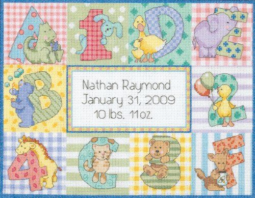 Free Baby Cross Stitch Patterns | Dimensions Counted Cross Stitch Zoo Alphabet Birth Reccord