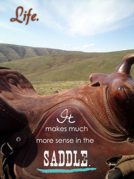 Life. It makes much more sense in the saddle.