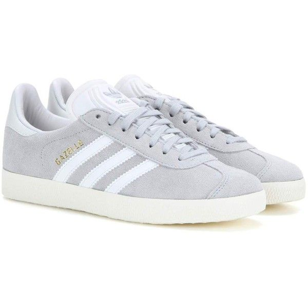 Adidas Originals Gazelle Suede Sneakers ($125) ❤ liked on Polyvore featuring shoes, sneakers, grey, zapatos, adidas trainers, gray suede shoes, adidas footwear, grey suede sneakers and grey shoes