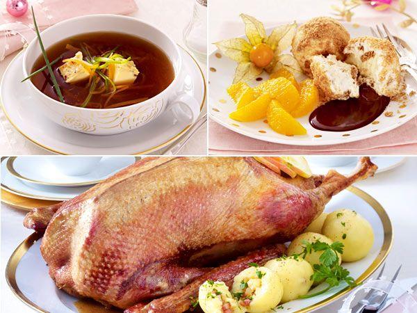 Knuspriger Klassiker: Über ein Weihnachtsmenü mit Gans, Rotkohl und Klößen freuen sich alle. Bouillon zur Vorspeise und Eis als Dessert runden das Ganze ab.
