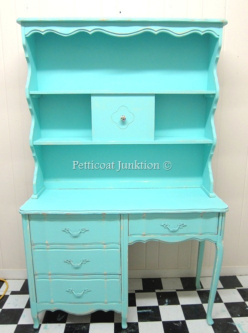 Turquoise painted French Provincial Furniture, Petticoat JunktionHomework Station, Turquoise Painting, Petticoats Junktion, Furniture Makeover, Painted Furniture, Painting Furniture, French Provincial Furniture, Stuffed Animal, Provincial Desks