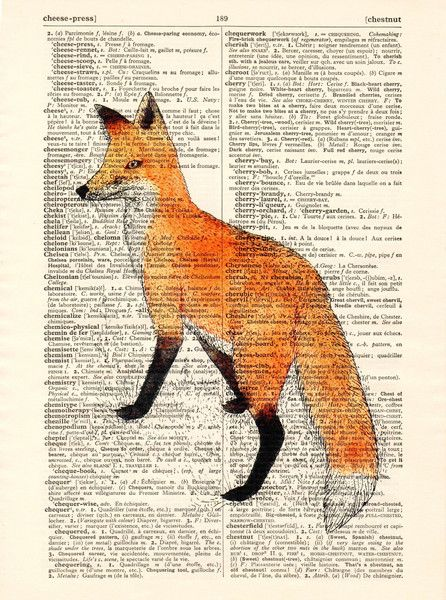 Originele prints - Print Art Fox Startpagina Original Antiek Boek - Een uniek…